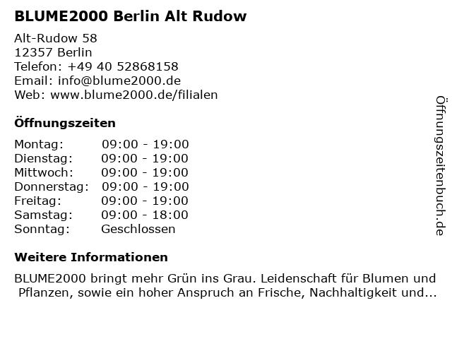 Blume 2000 Berlin Alt Rudow in Berlin: Adresse und Öffnungszeiten