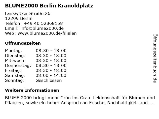 Blume 2000 Berlin Kranoldplatz in Berlin: Adresse und Öffnungszeiten