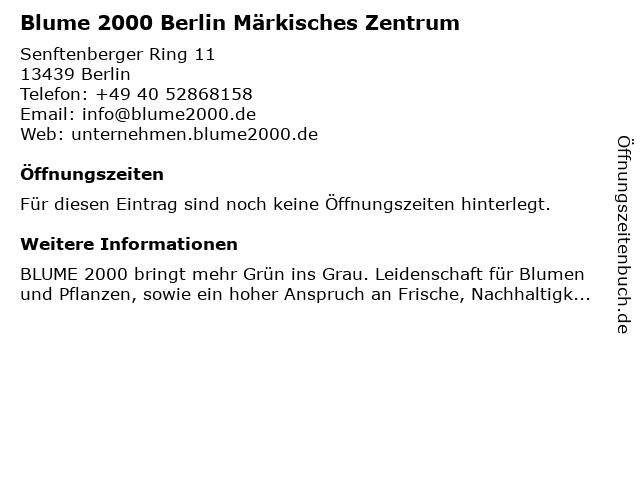 Blume 2000 in Berlin: Adresse und Öffnungszeiten