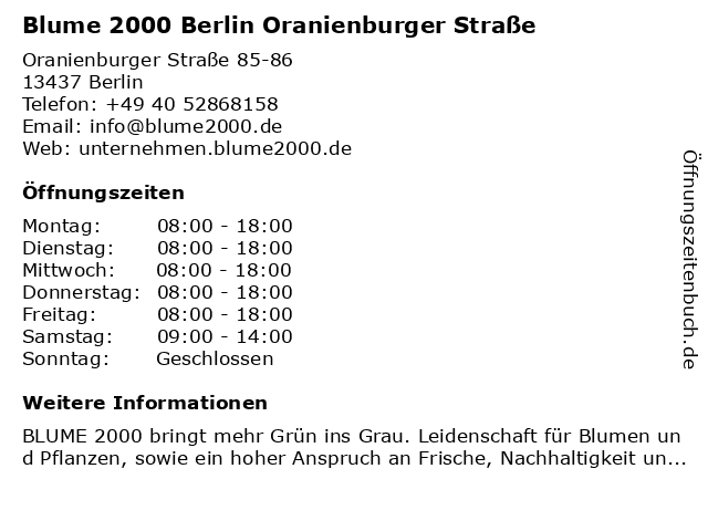 Blume 2000 Berlin Oranienburger Straße in Berlin: Adresse und Öffnungszeiten