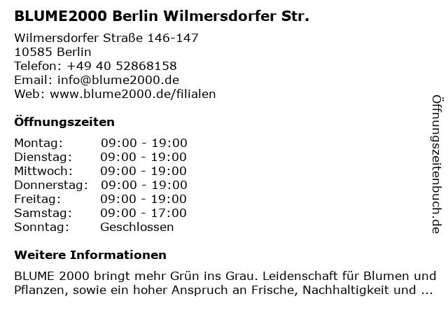 Blume 2000 Berlin Wilmersdorfer Str. in Berlin: Adresse und Öffnungszeiten