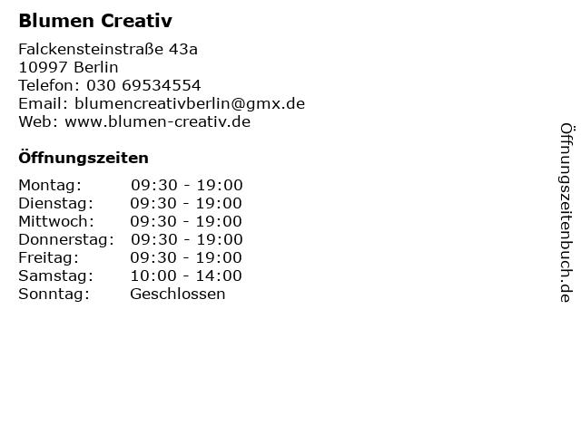 Blumen Creativ in Berlin: Adresse und Öffnungszeiten