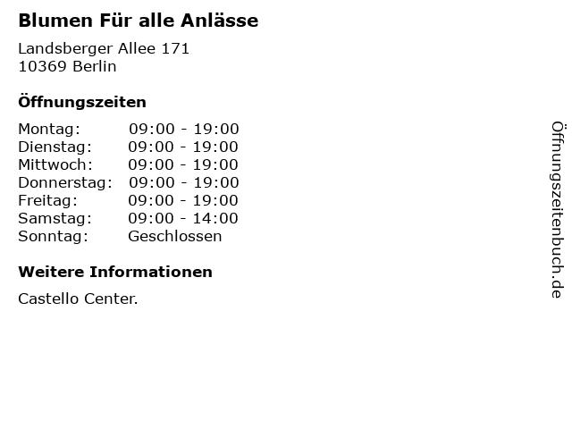 Blumen Für alle Anlässe in Berlin: Adresse und Öffnungszeiten