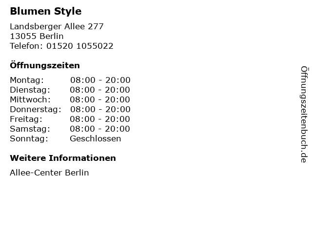 Blumen Style in Berlin: Adresse und Öffnungszeiten