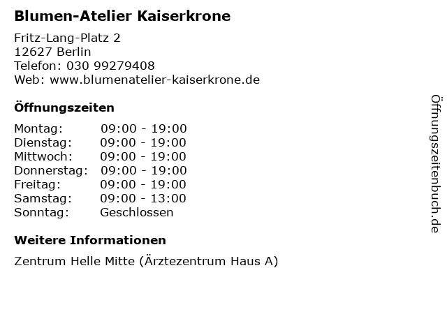 Blumen-Atelier Kaiserkrone in Berlin: Adresse und Öffnungszeiten