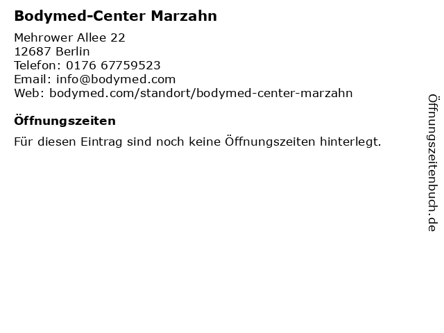 Bodymed-Center Marzahn in Berlin: Adresse und Öffnungszeiten