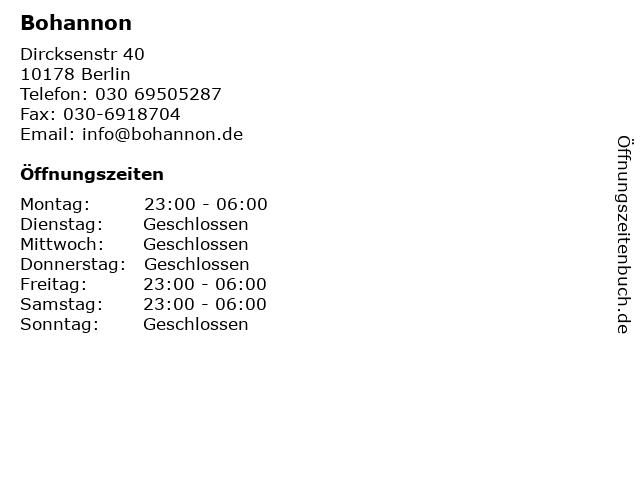 Bohannon in Berlin: Adresse und Öffnungszeiten