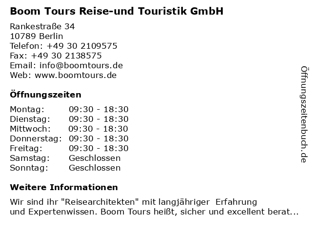 Boom Tours Reise-und Touristik GmbH in Berlin: Adresse und Öffnungszeiten