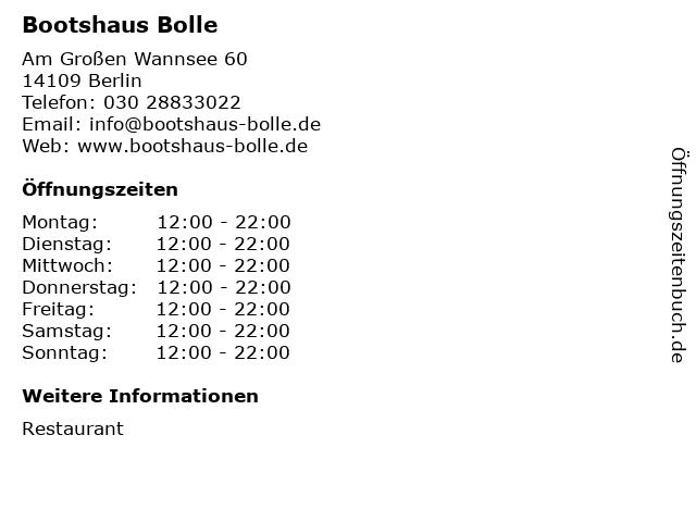 Bootshaus Bolle in Berlin: Adresse und Öffnungszeiten