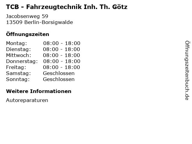 TCB - Fahrzeugtechnik Inh. Th. Götz in Berlin-Borsigwalde: Adresse und Öffnungszeiten