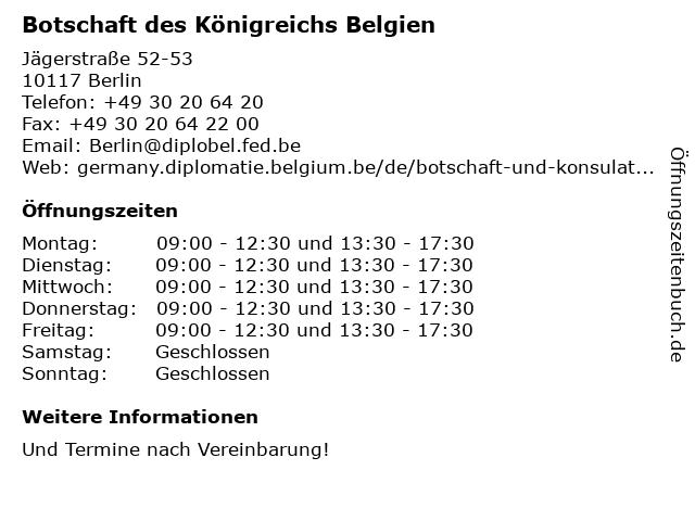 Botschaft des Königreichs Belgien in Berlin: Adresse und Öffnungszeiten