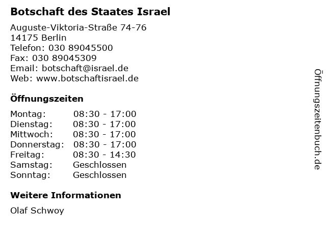 Botschaft des Staates Israel in Berlin: Adresse und Öffnungszeiten