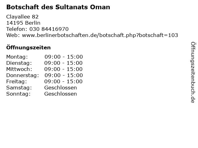 Botschaft des Sultanats Oman in Berlin: Adresse und Öffnungszeiten