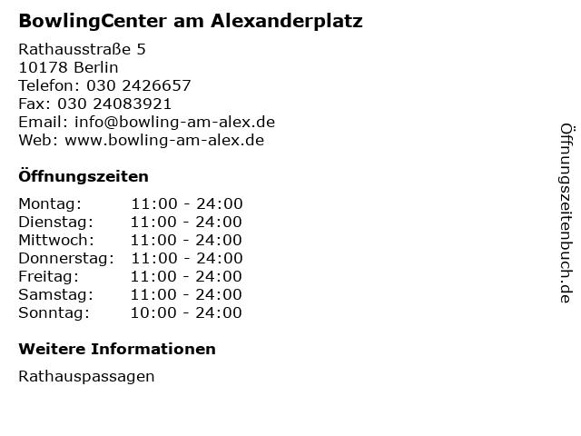 BowlingCenter am Alexanderplatz in Berlin: Adresse und Öffnungszeiten