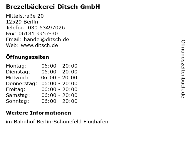 Brezelbäckerei Ditsch GmbH in Berlin: Adresse und Öffnungszeiten