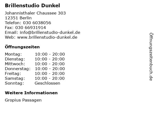 Brillenstudio Dunkel in Berlin: Adresse und Öffnungszeiten