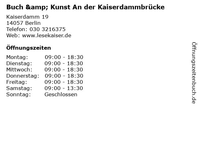 Buch & Kunst An der Kaiserdammbrücke in Berlin: Adresse und Öffnungszeiten