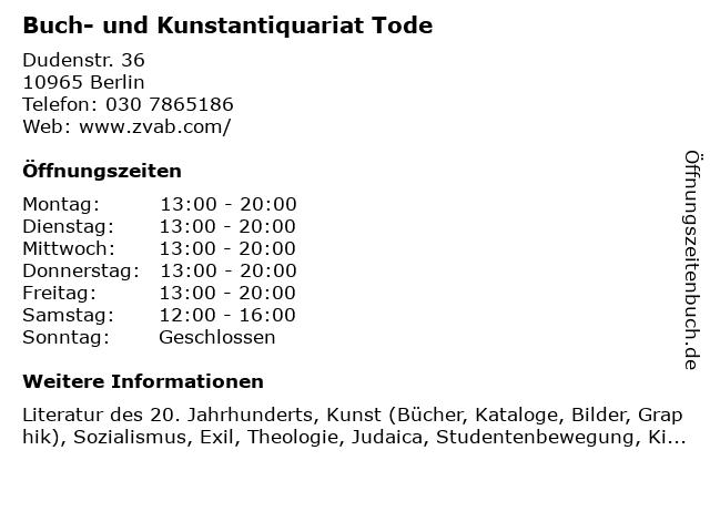 Buch- und Kunstantiquariat Tode in Berlin: Adresse und Öffnungszeiten