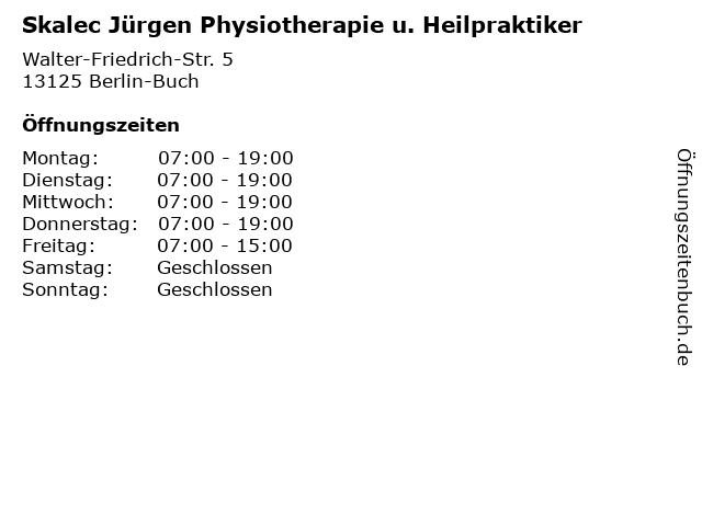 Skalec Jürgen Physiotherapie u. Heilpraktiker in Berlin-Buch: Adresse und Öffnungszeiten