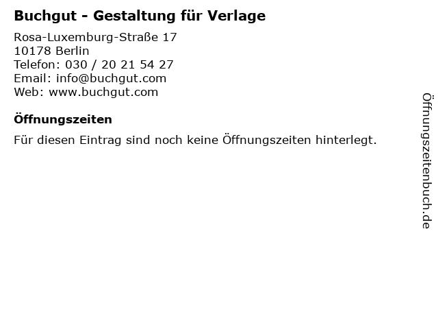 Buchgut - Gestaltung für Verlage in Berlin: Adresse und Öffnungszeiten