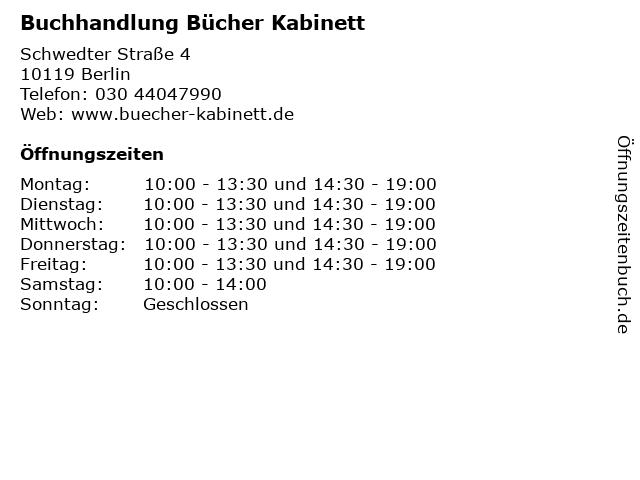 Buchhandlung Bücher Kabinett in Berlin: Adresse und Öffnungszeiten