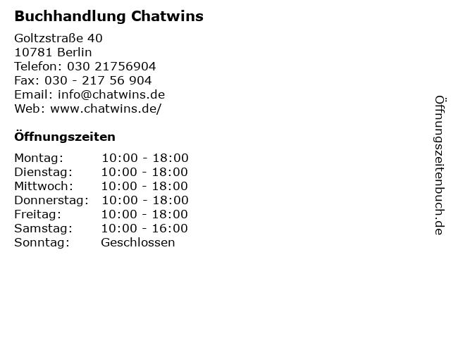 Buchhandlung Chatwins in Berlin: Adresse und Öffnungszeiten