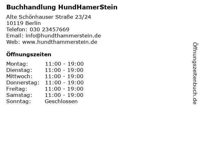 Buchhandlung HundHamerStein in Berlin: Adresse und Öffnungszeiten