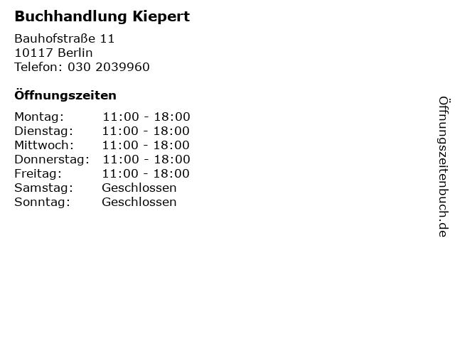 Buchhandlung Kiepert in Berlin: Adresse und Öffnungszeiten