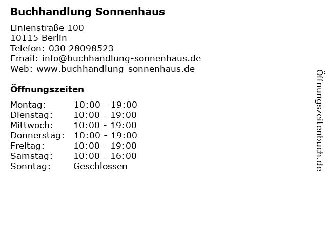 Buchhandlung Sonnenhaus in Berlin: Adresse und Öffnungszeiten