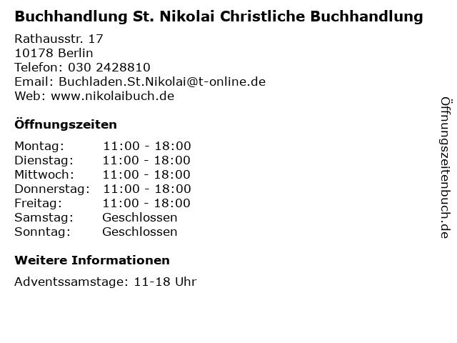Buchhandlung St. Nikolai Christliche Buchhandlung in Berlin: Adresse und Öffnungszeiten