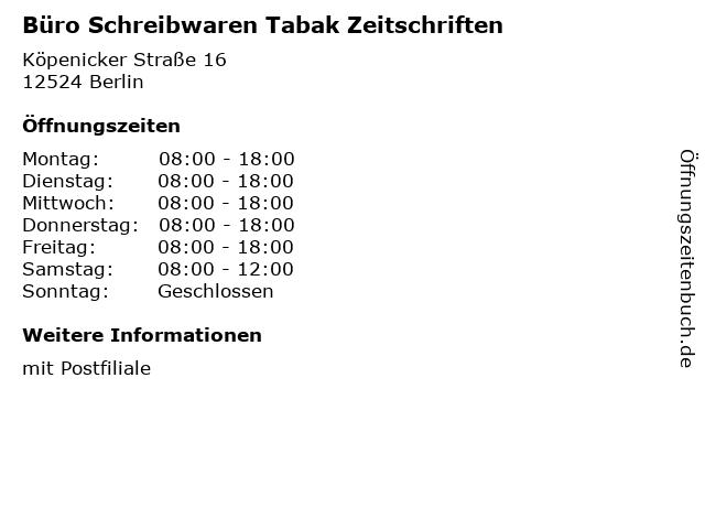 Büro Schreibwaren Tabak Zeitschriften - Deutsche Post Filiale in Berlin: Adresse und Öffnungszeiten