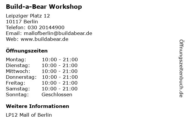 Build-a-Bear Workshop in Berlin: Adresse und Öffnungszeiten
