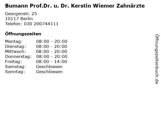 Bumann Prof.Dr. u. Dr. Kerstin Wiemer Zahnärzte in Berlin: Adresse und Öffnungszeiten