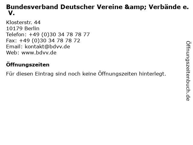 Bundesverband Deutscher Vereine & Verbände e. V. in Berlin: Adresse und Öffnungszeiten