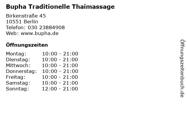 Bupha Traditionelle Thaimassage in Berlin: Adresse und Öffnungszeiten