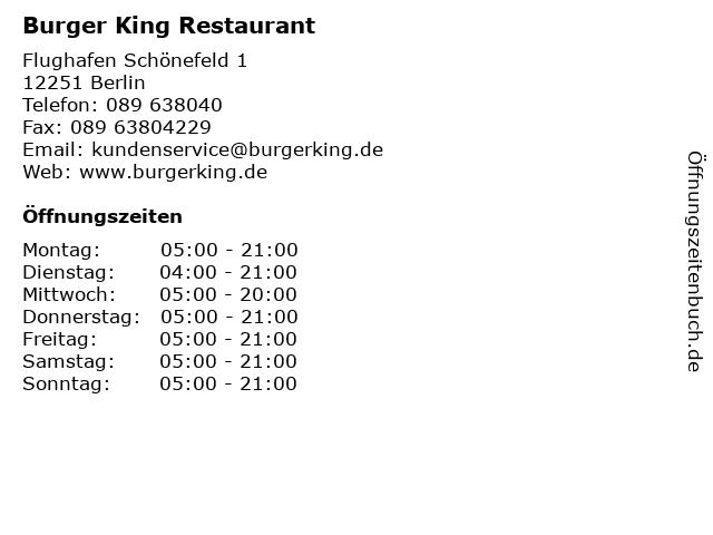Burger King Restaurant in Berlin: Adresse und Öffnungszeiten