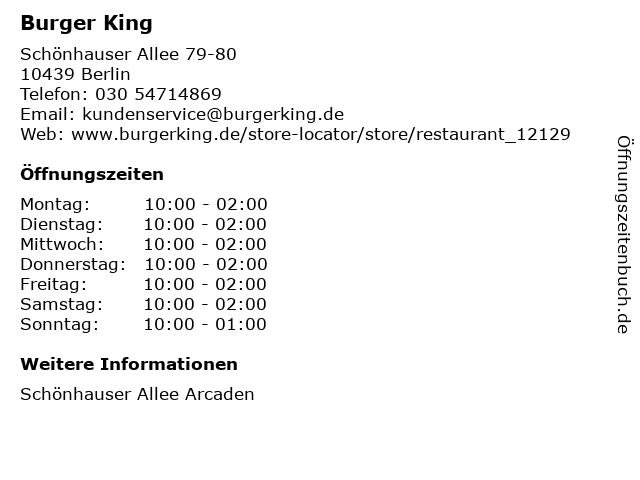 Burger King in Berlin: Adresse und Öffnungszeiten