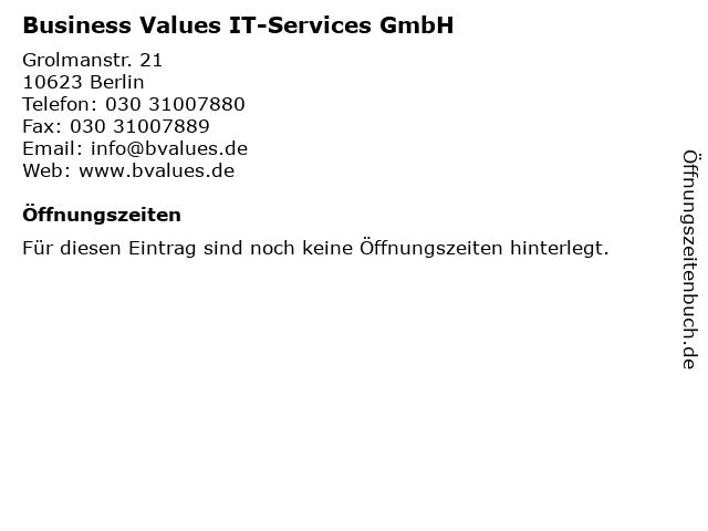 Business Values IT-Services GmbH in Berlin: Adresse und Öffnungszeiten