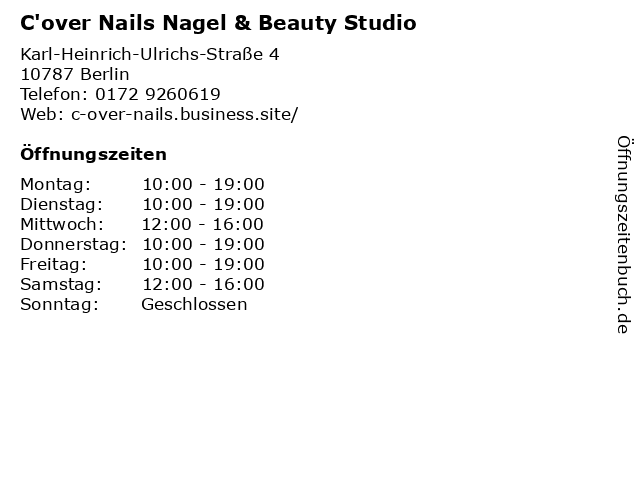 C'over Nails Nagel & Beauty Studio in Berlin: Adresse und Öffnungszeiten