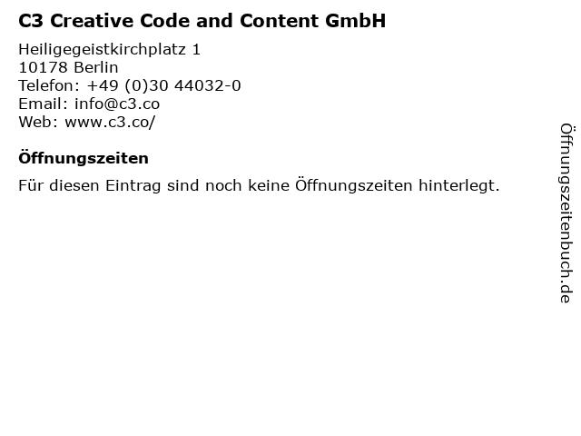 C3 Creative Code and Content GmbH in Berlin: Adresse und Öffnungszeiten