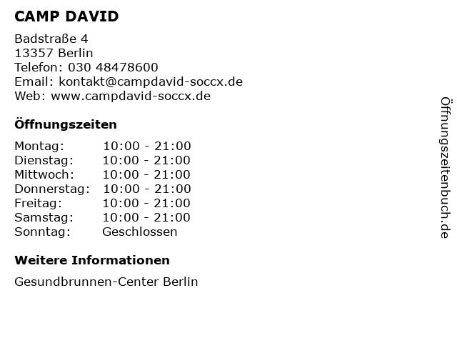 CAMP DAVID in Berlin: Adresse und Öffnungszeiten