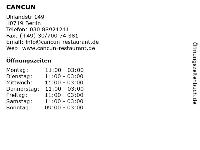 CANCUN in Berlin: Adresse und Öffnungszeiten