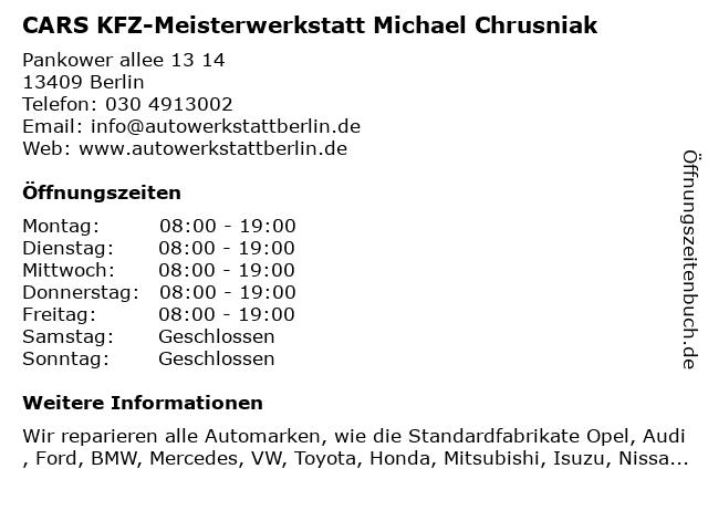 CARS Meisterwerkstatt, M. Chrusniak in Berlin: Adresse und Öffnungszeiten