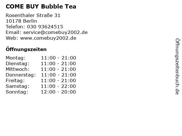 COME BUY Bubble Tea in Berlin: Adresse und Öffnungszeiten