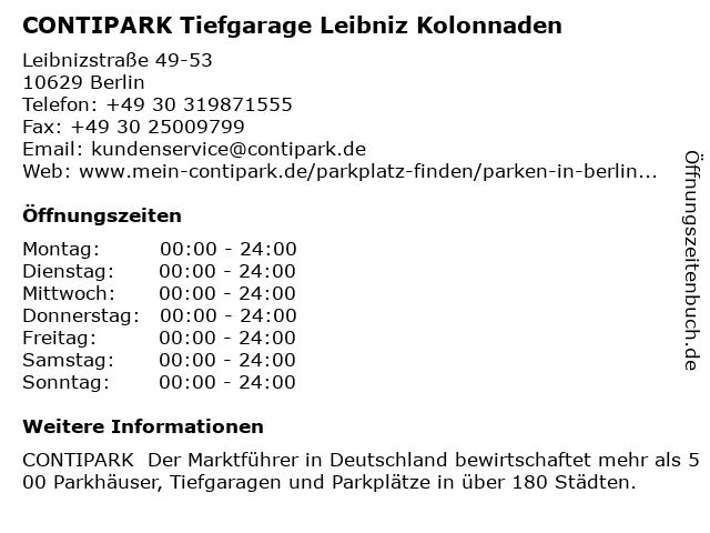 CONTIPARK Tiefgarage Leibniz Kolonnaden in Berlin: Adresse und Öffnungszeiten
