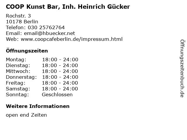 COOP Kunst Bar, Inh. Heinrich Gücker in Berlin: Adresse und Öffnungszeiten