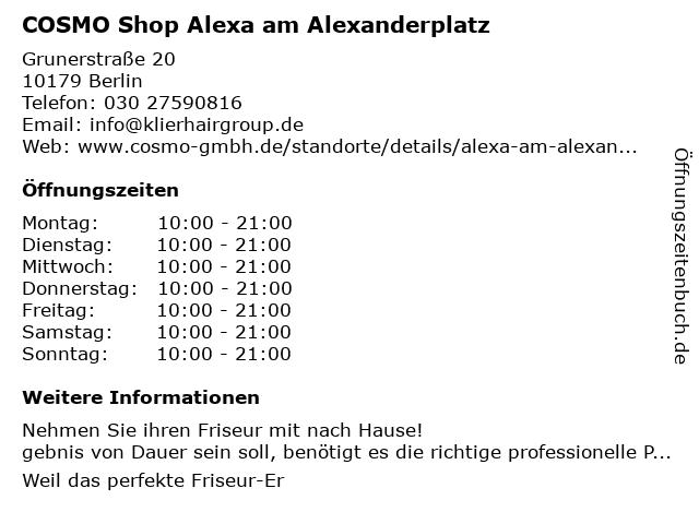 COSMO Shop Alexa am Alexanderplatz in Berlin: Adresse und Öffnungszeiten