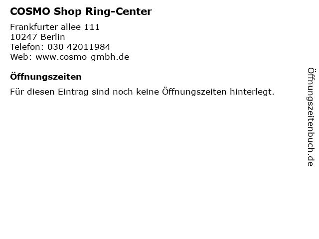 COSMO Shop Ring-Center in Berlin: Adresse und Öffnungszeiten