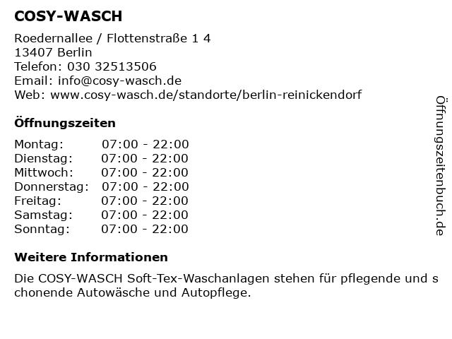 COSY-WASCH in Berlin: Adresse und Öffnungszeiten