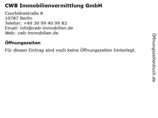 CWB Immobilienvermittlung GmbH in Berlin: Adresse und Öffnungszeiten